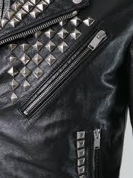 saint lau classic studded motorcycle jacket men clothing yves saint lau yves saint lau