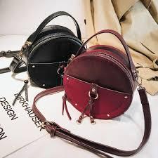 Designer Crossbody Bags Vintage Scrub Leather Round Designer Crossbody Bag