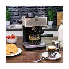 This coffee & espresso combo comes in black. Mr Coffee 4 Cup Steam Espresso System With Milk Frother Ecm160 Caffeinated Cup