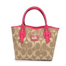 Coach Logo In Monogram Small Khaki Totes DCM