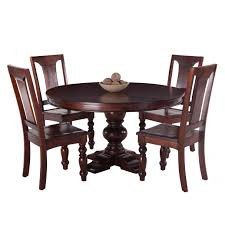 pearl grove solid mango wood round dining table and set of 4 mango wood dining chairs today overstock 12836068