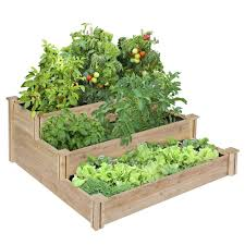 com greenes 4 ft x 4 ft x 21 in tiered cedar raised garden bed garden outdoor