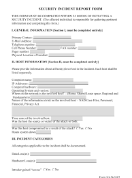 Form Nad 0307 Download Printable Pdf Security Incident