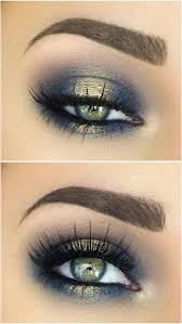 makeup ideas spotlight halo smokey eye in navy blue gold makeup makenzie wilder