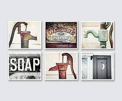 Image Rustic Bathroom Now 440 Wantitall Farmhouse Bathroom Wall Decor Set Of Unframed 5x7