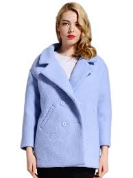 notched collar double ted plus size winter pea coat
