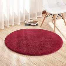 super soft wine red round area rug kids rugs artic velvet mat with plush and fluff