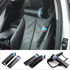 <b>New</b> Style ///M <b>Sports Car Seat</b> Belts & Padding Carbon fiber leather ...