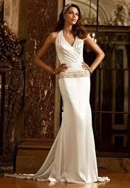 david s bridal mordern ivory silk halter wedding dress wedding