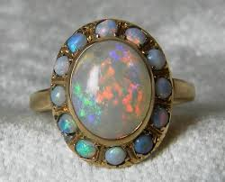 opal ring antique 14k rose gold blue black opal engagement ring antique australian black opal halo ring october birthday