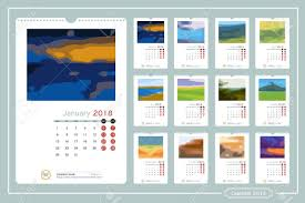 Calender Design Template Monthly Calendar For Year 2018 Vector Design Template With Space
