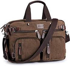 S-ZONE 15.6 inch Laptop Men <b>Vintage</b> Canvas <b>Backpack</b> ...