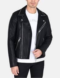 armani exchange men s coats jackets a x armani exchange studded faux leather moto man front
