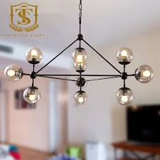 ikea style glass ball pendant lamp loft iron 10 hanging lights dining room decoration lighting fixture 10142 ceiling fans with lights