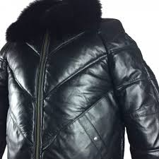mens er lambskin leather jacket with fox fur collar