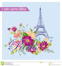 Paris Graphic Designer T Shirt Floral Paris Graphic Design Stock Vector