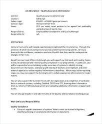 Quality Assurance Administrator Job Description Quality Assurance