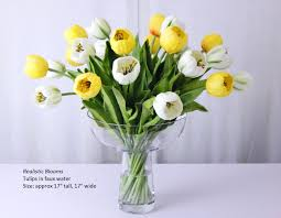 Tulip Floral Arrangements White Yellow Tulip Tulips Large Silk Artificial  Floral Home Improvement Tulip Arrangements For
