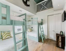 Very different bunkbed room. The aqua & white make it cheerful. House of  Turquoise: Nest Interior Design