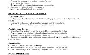 Bartender Resume Skills Tomyumtumweb Com