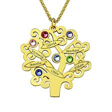 family tree pendant family tree necklace gold color mothers necklace with birthstone grandmas gift family name