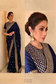 New Bollywood Designer Sarees Sridevi Wardrobe Featuring Blue Color Zari Work Bollywood Designer Saree