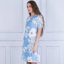 Light Blue And White Dress Just White Floral Stretch Dress In Light Blue White