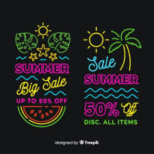 Free Vector | <b>Neon</b> lights <b>summer</b> sale banners