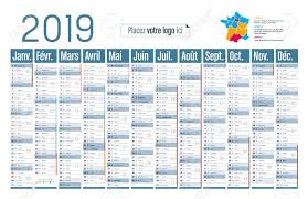 Horizontal Calendar Year 2019 Horizontal Calendar In French Language On White Background