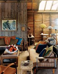 rustic country living room furniture. Small Spaces Rustic Living Room Design With Wood Wall, Old And Vintage Furniture, Table Bookshelf, Sofa Fabric Cushions Ideas Country Furniture