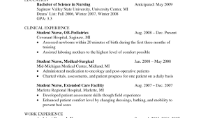 Gallery Of Nursing Student Clinical Experience Resume