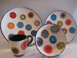 bright circled dinner ware pottery painting