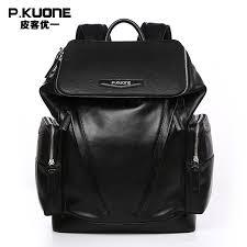 p kuone brand luxury black genuine leather backpack