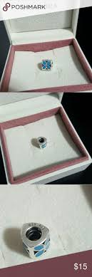 accessories glasgow box: authentic pandora triangle flower charm used great condition turquoise flowers manufactured before