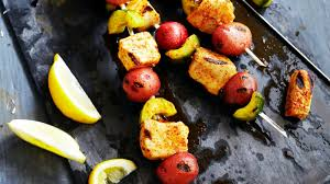 albacore tuna cuber and potato kebabs