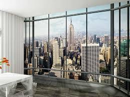 New York City Wallpaper For Bedroom 1wall New York Skyline Window View Wallpaper Photo Wall Mural
