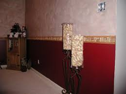 this is a side view of the colors and the chair rail and my very cool sunesta partylite candle holders that have become wine cork holders don t be fooled