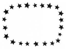 落書き風の星の白黒フレーム飾り枠イラスト 無料イラスト かわいい