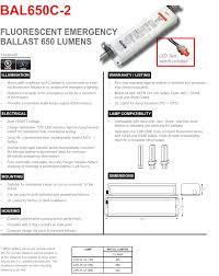 Bal650c 2 500 Lumen 2 Pin Compact Fluorescent Emergency Ballast