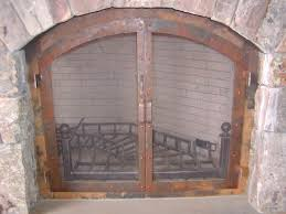 image of rustic fireplace screens ideas
