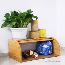 indressme bamboo bread box countertop bread storage bin rolltop breadbox bread boxes for kitchen counter large