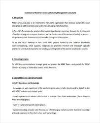 Work Statement Examples Sample Of Statement Of Work Rome Fontanacountryinn Com