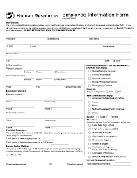 General Employee Information Form Texas Free Download