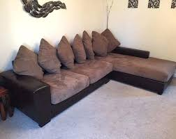 leather and fabric couch brown l shape corner sofa couch ex land of leather fabric mix leather and fabric couch