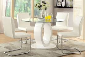 lodia i white glass top round pedestal dining room set main image