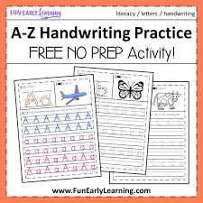 Handwritting Practice A Z Handwriting Practice No Prep Worksheets For Learning Letters