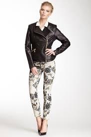 image of via spiga mixed media leather moto jacket