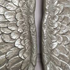large silver wall mounted wings angel