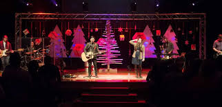 Church Stage Design Ideas trees and boxes