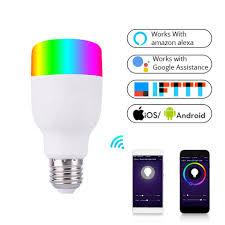 WiFi Smart Light Bulb Intelligent Colorful LED Lamp 7W <b>RGBW</b> APP ...
